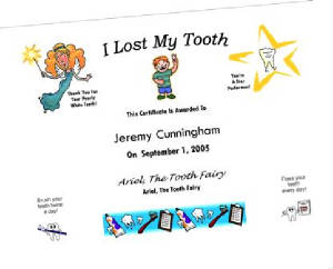 Tooth Fairy Certificate Example (Upgrade #TF1)